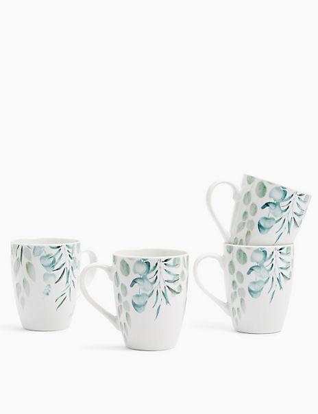 Set of 4 Eucalyptus Mugs