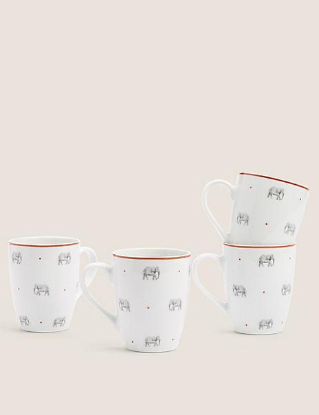 Set of 4 Elephant Mugs
