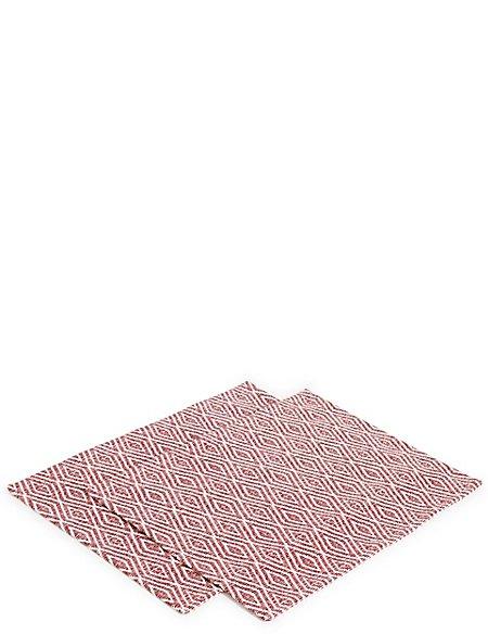 Set of 2 Diamond Geometric Print Placemats