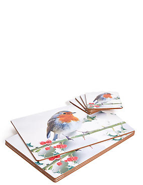 Set of 4 Robin Placemat & Coaster