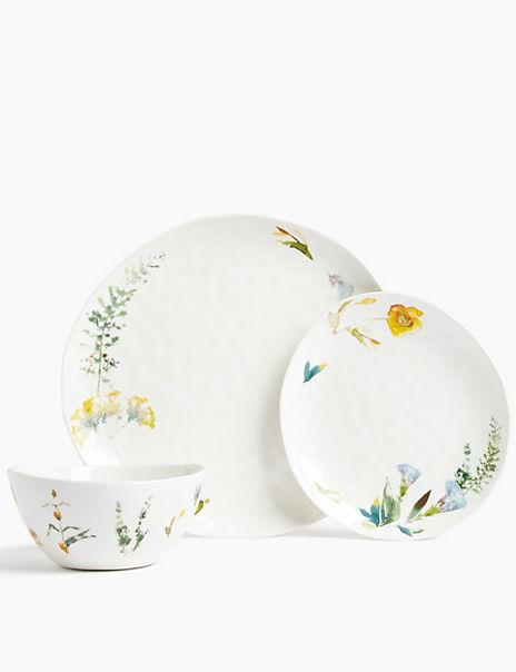 12 Piece Watercolour Floral Dinner Set