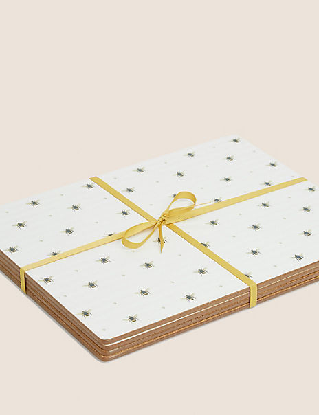 Set of 4 Cork Back Bee Print Placemats
