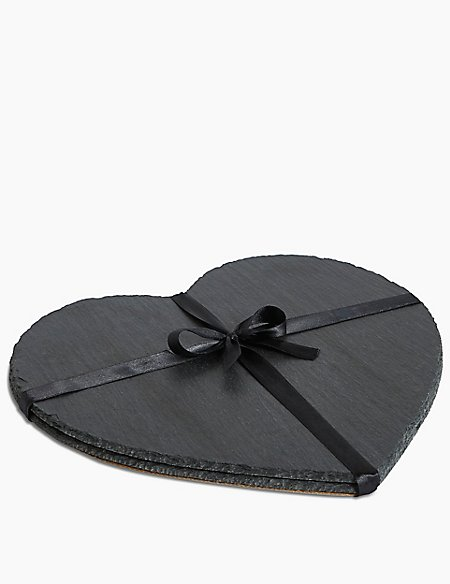 Set of 2 Heart Slate Placemats