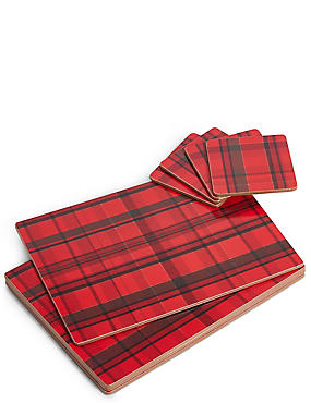 Set of 4 Tartan Placemats & Coasters, RED MIX, catlanding