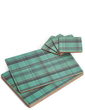 Set of 4 Tartan Placemats & Coasters