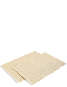 Set of 2 Metallic Cotton Rib Placemats, GOLD, catlanding