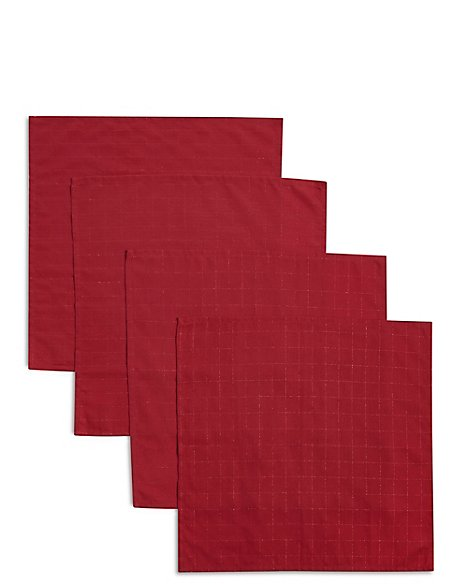 Set of 4 Metallic Check Napkins
