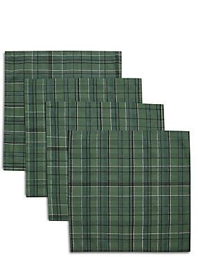 Set of 4 Tartan Napkins, GREEN MIX, catlanding