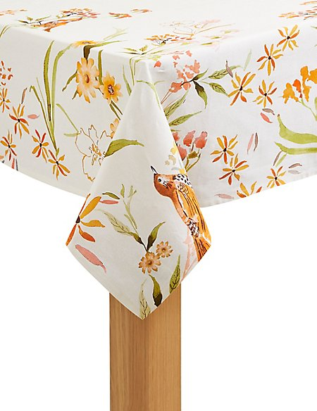 Painterly Floral Print Tablecloth