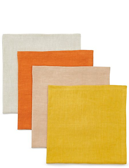 Set of 4 Sun-baked Linen Napkins