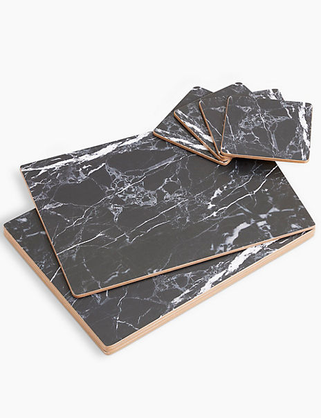 Set of 4 Marble Cork Back Placemats & Coasters