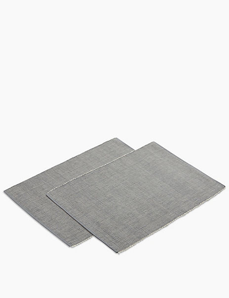 Set of 2 Rib Woven Placemats