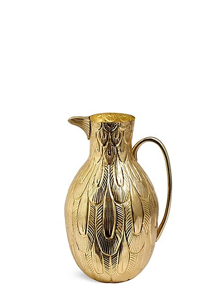 Embossed Brass Bird Jug