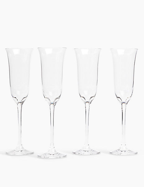 4 Pack Crystal Tulip Champagne Flutes