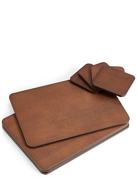 Set of 4 Wood Veneer Placemats & Coasters