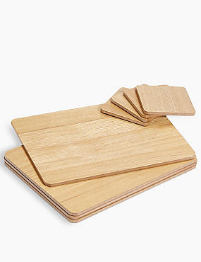 Set of 4 Wood Veneer Placemats & Coasters