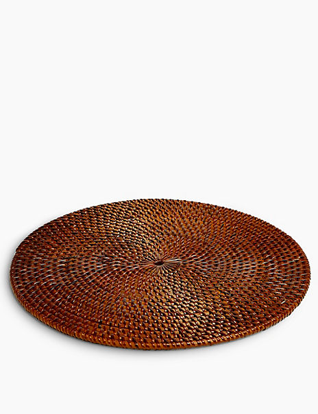 Wood Round Rattan Placemat