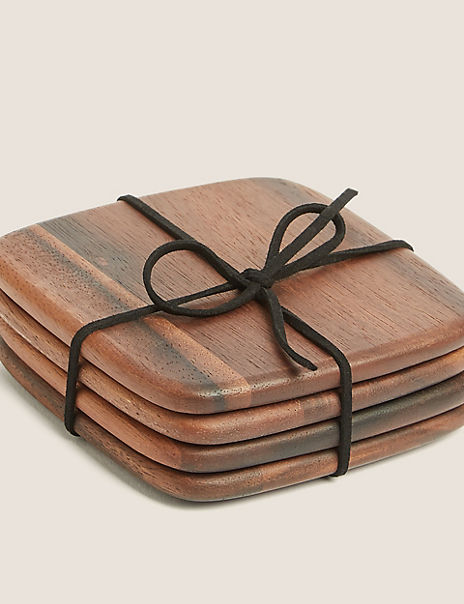 4 Pack Acacia Wood Coasters
