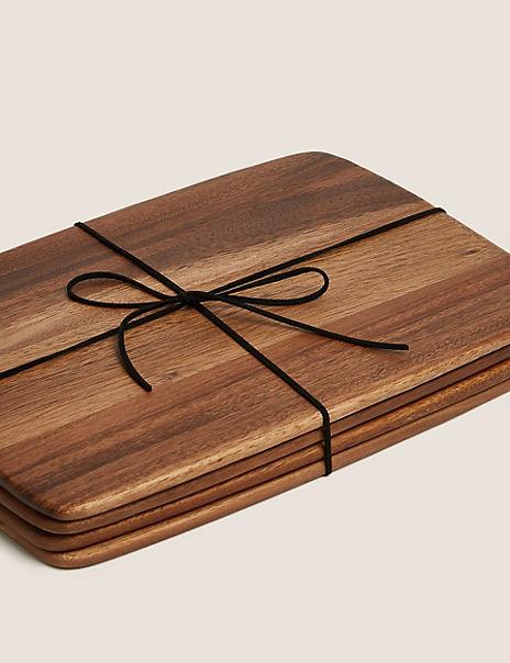 4 Pack Acacia Wood Placemats