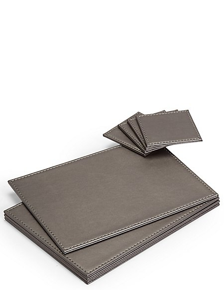 4 Pack Faux Leather Mat & Coasters