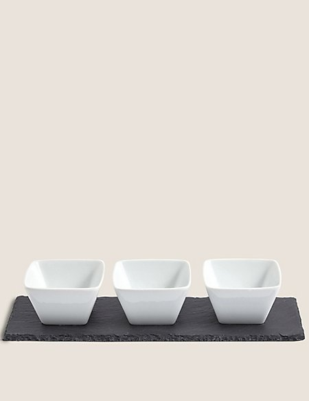Set Of Three Tapas Bowls Slate Platter
