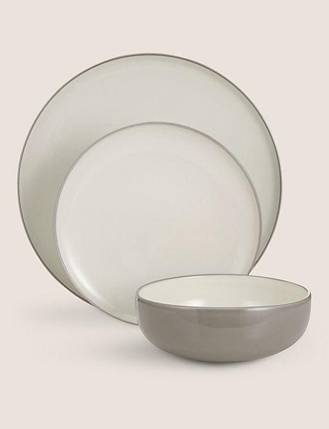 12 Piece Tribeca Grey Stoneware Dinner Set