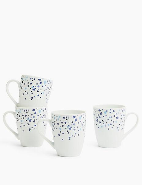 4 Pack Speckle Porcelain Mugs