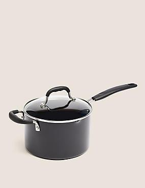 Black Aluminium 20cm Small Non-Stick Saucepan