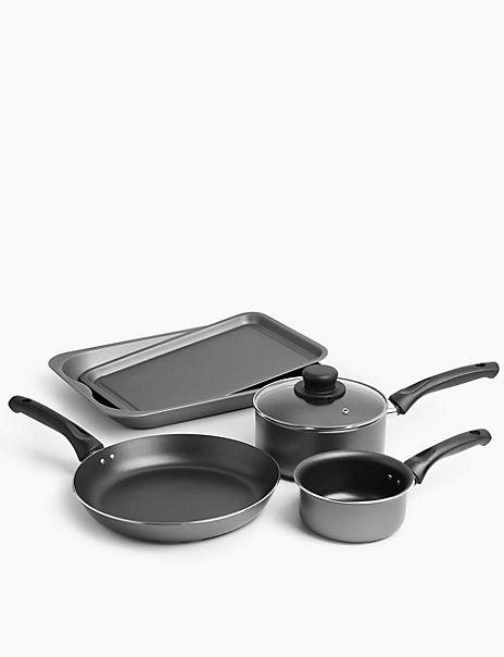 Set of 5 Grey Aluminium Pan Set