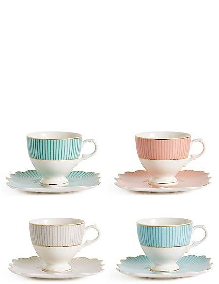 Set of 4 Charleston Cup & Saucer