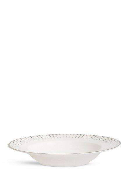 Platinum Decorated Pasta Bowl