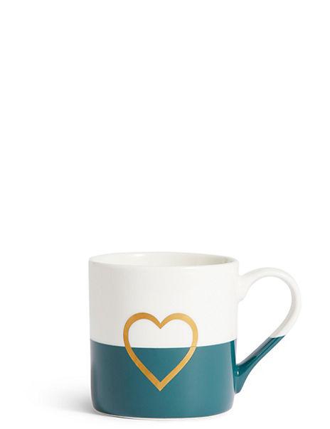 Dipped Glaze Metallic Heart Mug