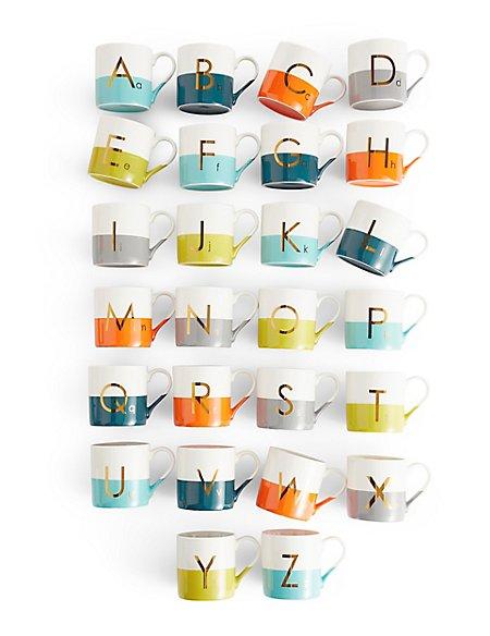 Dipped Glaze Metallic Alphabet Mug