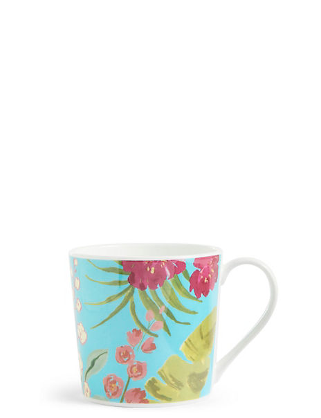 Tropical Teal Floral Mug