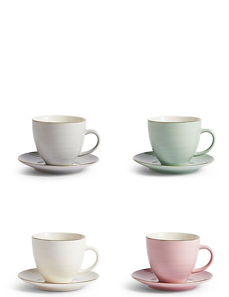 Isla Set of 4 Cups & Saucers