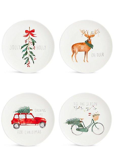 Set of 4 Christmas Slogan Side Plates