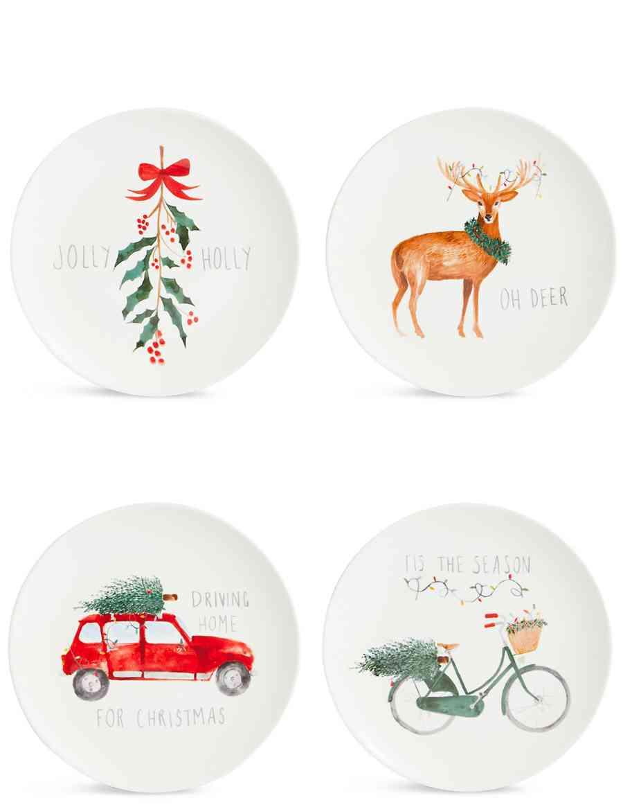Set of 4 Christmas Slogan Side Plates | M&S