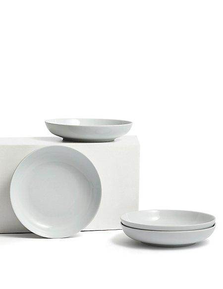 4 Piece White Pasta Bowls