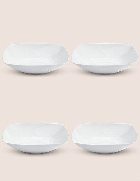 4 Piece White Square Pasta Bowls