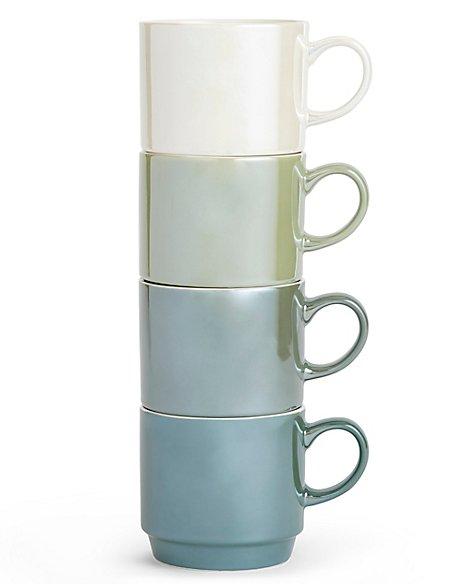 Set of 4 Lustre Stacking Mugs