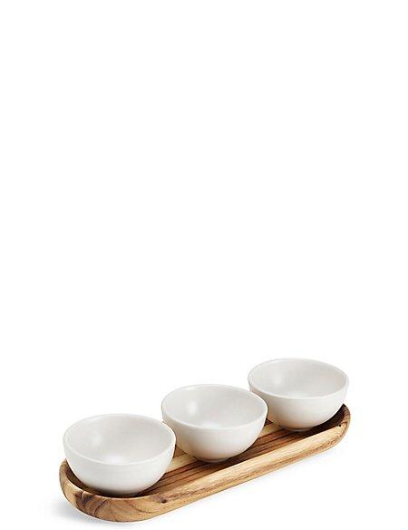 3 Acacia Dip Bowls