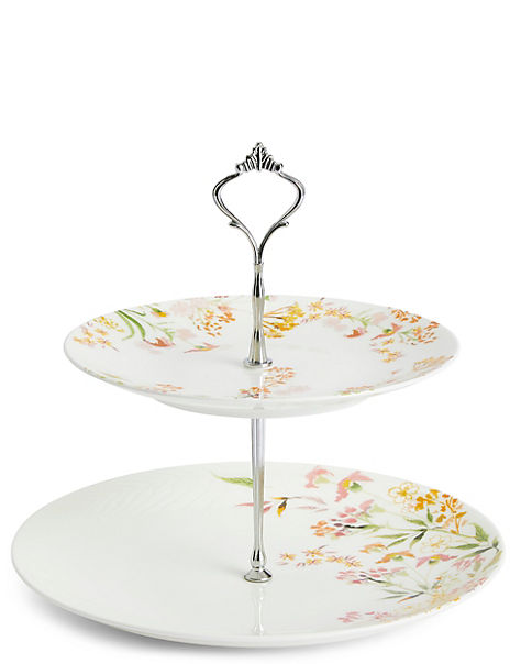Painterly Floral Cake Stand