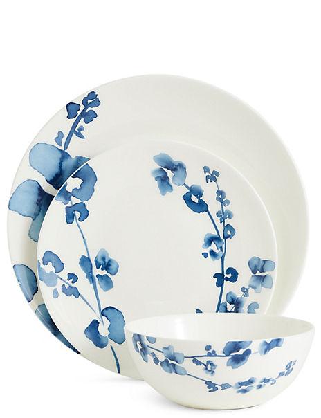 12 Piece Indigo Floral Box Dinner Set