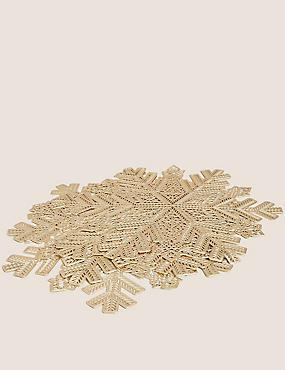 Set of 4 Snowflake Metallic Gold Placemats