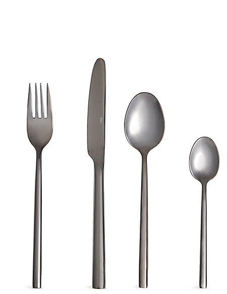 16 Piece Manhattan Gunmetal Cutlery Set