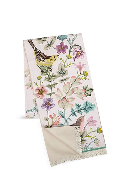 Spring Bird Embroidered Runner Tablecloth