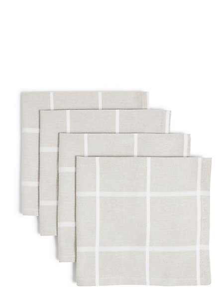 Set of 4 Multi Weave Check Napkins