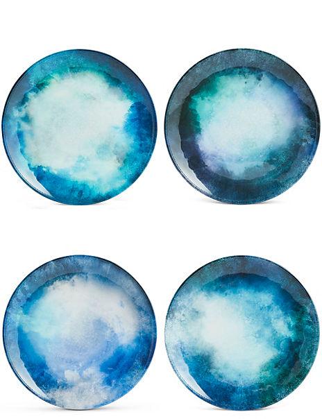 Set of 4 Reactive Dinner Plates