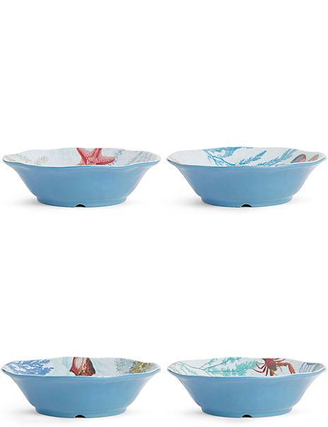 Set of 4 Nautical Pasta Bowls