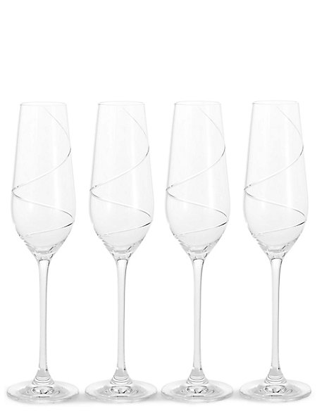 Swirl 4 Pack Champagne Flutes